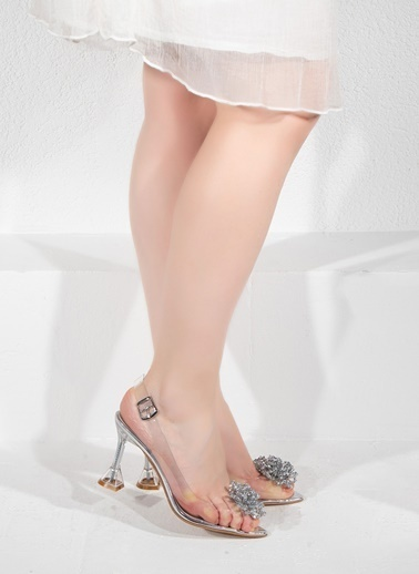 Nemesis Shoes Nemesis Shoes Şeffaf Kadın Topuklu Sandalet Gümüş